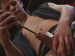 Depraved gay boy plays with penis
