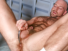 Dirk ploughs over his hirsute powerful body & probes his ass