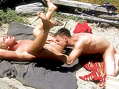 Guy moaning with pleasure as he gets his a-hole rammed by cock!