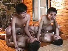 Two couples of Asian twinks fucking on the floor