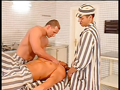 Prison boss orders kitchen fellows to fuck in 1 episode
