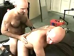 Bear gay sucks mature boyfriend on floor