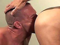 Gay boy sucks mature cocks by turns