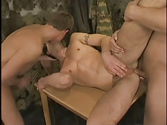 Hot military twink kissed and fucked by friends