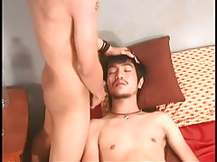 Asian boy gets hot facial