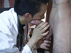 Gay latin doctor plays with hard cock