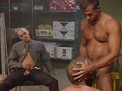 Muscle gay sucks hairy prisoner