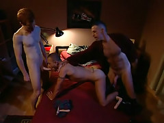 Lusty dad and boy share poor guy