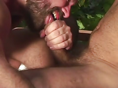 Horny bear gay sucks appetizing cock