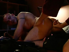 Dad fingering hairy guy in bed