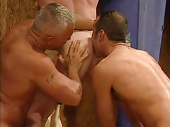 Mature gays lick appetizing elastic ass in threesome