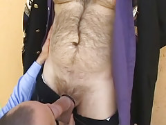 Man sucks his hairy boss outdoor