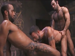 Tattooed Arabian gays share dude in pyramid