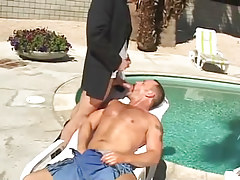 Bear mature gay sucks appetizing cock by pool