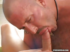 Hairy mature gay sucks fresh boys cock
