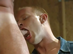 Hot gay boy throats appetizing cock