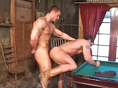 Hot muscle gays hard fuck on billiard table