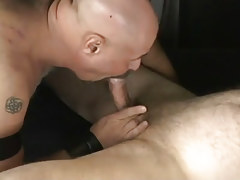Hairy man sucks his mature boyfriend