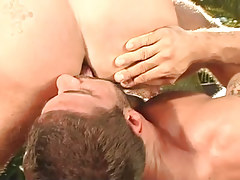 Bear gay licks hard males ass outdoor